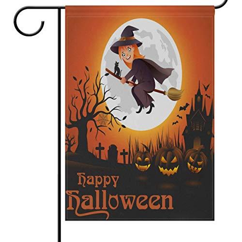 (HUVATT Home Decorative Garden Flag Happy Halloween Witch Moonlight Double Sided House Yard Flag,Pumpkin Castle Winter Holiday Seasonal Outdoor Flags 12 x 18)