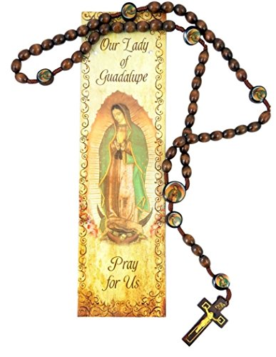 Cards Rosary Prayer (Our Lady of Guadalupe Wooden Bead Cord Rosary with Prayer Card, 19 Inch)