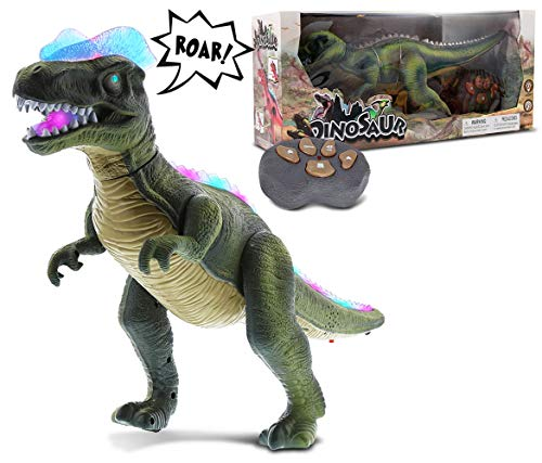 Mozlly Remote Control Dinosaur Realistic Big RC Dinosaur Toy Moving Walking Roaring Robot Dino - Lights Up with Sound - Action Figure Remote Control Robot Toys for Boys, Girls, Kids - Green or Brown