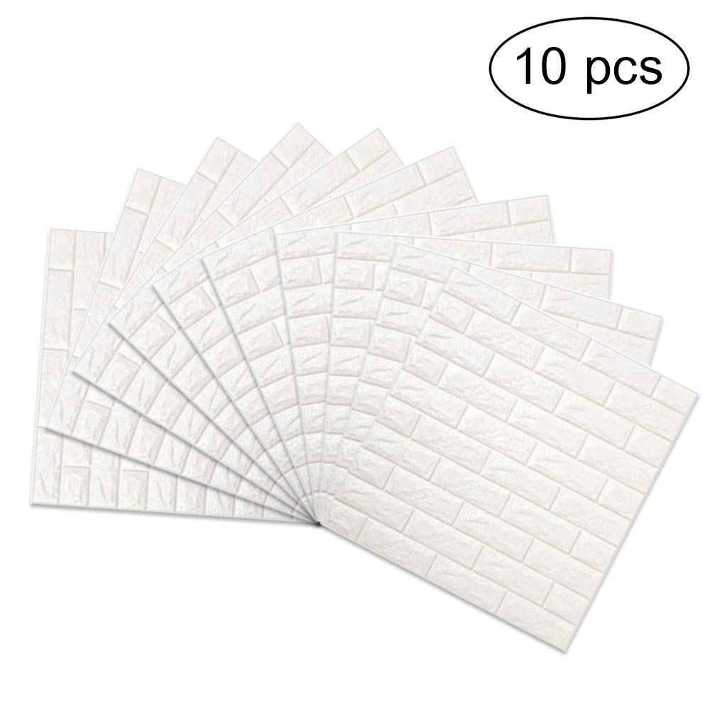 3D Brick Wall Stickers, FOME PE Foam 3D Brick Wall Tile Easy Self-Adhesive Design Wall Paper Wall Tile Stickers 3D Decorative Soft Panels for Kitchen/Bathroom/Living Room/Bedroom Decor 30.3x27.6 inch by FOME (Image #1)