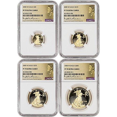 2000 W American Gold Eagle 4-pc Proof Set Saint Gaudens Label PF70