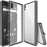 Xperia Z5 Premium Case, Ringke [Fusion] Crystal Clear PC Back TPU Bumper w/ Screen Protector [Drop Protection/Shock Absorption Technology][Attached Dust Cap] For Sony Xperia Z5 Premium - Smoke Black