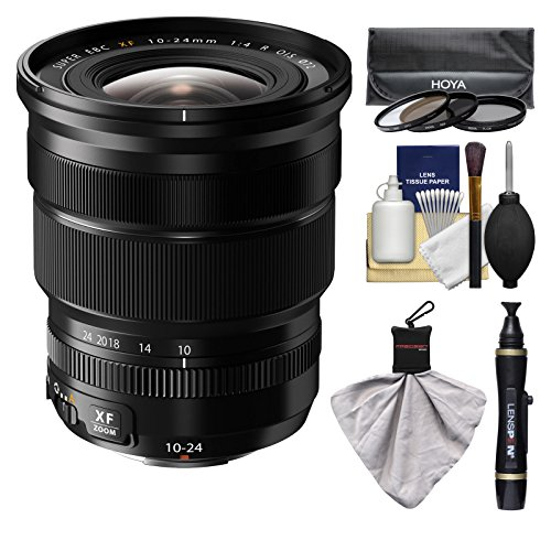 Fujifilm 10-24mm f/4.0 XF R OIS Zoom Lens with 3 Hoya UV/CP/ND8 Filters Kit for X-A2, X-E2, X-E2s, X-M1, X-T1, X-T10, X-Pro2 Cameras ()