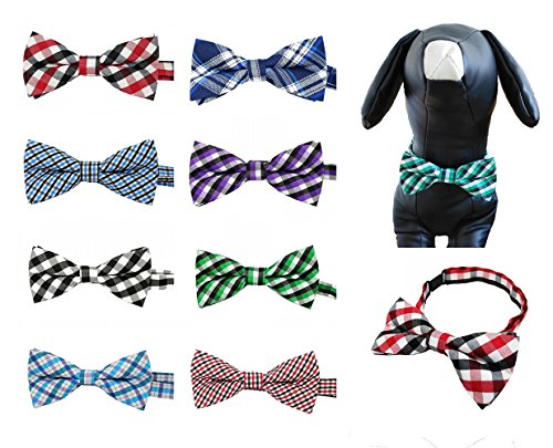 PET SHOW Plaid Dog Bow Ties Adjustable Bowties for Small Dogs Puppy Cats Party Pet Collar Neckties Customes Grooming Accessories Pack of ()