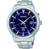 Seiko Kinetic GMT SUN031 P1 Silver with Dark Blue Dial Automatic Men's Analog Dress Watch