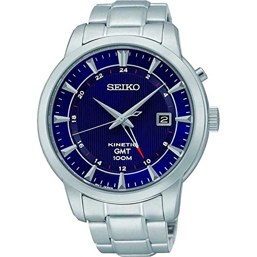 Seiko Kinetic GMT SUN031 P1 Silver with Dark Blue Dial Automatic Men's Analog Dress Watch -