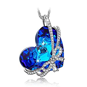 """Qianse """"Heart of the Ocean"""" Pendant Necklace Made with SWAROVSKI Crystal, Women Fashion Jewelry"""