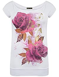 Chocolate Pickle Womens Sequin Cerise Floral Glitter T-Shirts