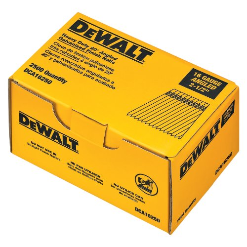 Angle Brad Nailer (DEWALT DCA16250 2-1/2-Inch by 16 Gauge 20-Degree Finish Nail (2,500 per Box))