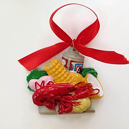 New Orleans Crawfish LOBSTER Boil Holiday Christmas Ornament Boiled Crawfish with Fixin's Plate Ornament with Free Gold Gift Box (Fixins Gift)