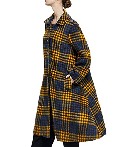 (YESNO AG3 Women Fashion Wool Blend Cloak Coat Checked Single Breasted Large A-Line Skirt Side Slit Long Sleeve/Pockets)