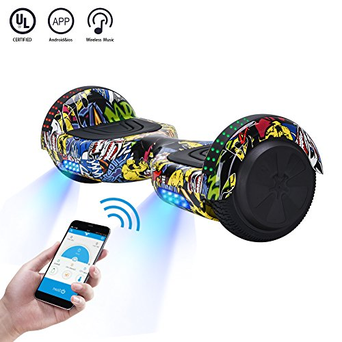Price comparison product image CXM2018 App Enabled Self Balancing Hoverboard with Bluetooth Speaker and LED Light,Two Wheel Smart Electric Scooter,Available on iPhone & Android for Kids and Adults (street dance)