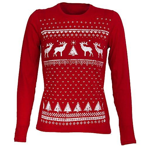 Jolly Damen Rentier Weihnachts-Langarmshirt eine Tolle Leichte und Bequeme Alternative Zum Weihnachtspullover.