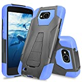LG X Venture Case, LG X Calibur Case, LG V9 Case, TJS Dual Layer Hybrid Shock Absorbing Impact Resist Rugged Case Cover with Kickstand Silicone Inner Layer For LG X Venture/X Calibur/V9 (Blue/Black)