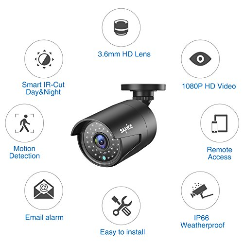 SANNCE 4 Metal Security Camera Kits 1/2.7'' 1080P(2MP) AHD Video Security Surveillance CCTV Camera with 100ft Night Vision, 3.6mm Lens Outdoor/Indoor IP66 Weatherproof(Pack of 4) by SANNCE (Image #6)