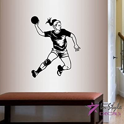 Wall Vinyl Decal Home Decor Art Sticker Handball Player Girl Sportsman Sports Room Removable Stylish Mural Unique Design