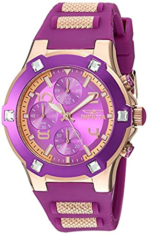 Invicta Women's 'BLU' Quartz and Silicone Casual Watch, Color:Rose Gold-Toned (Model: 24195) (Purple Gold Watch)