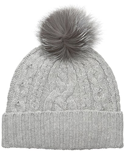 Sofia Cashmere Women's 100% Cashmere Cable Texture Hat with Fox Fur Pom, Drizzle Grey, One by Sofia Cashmere