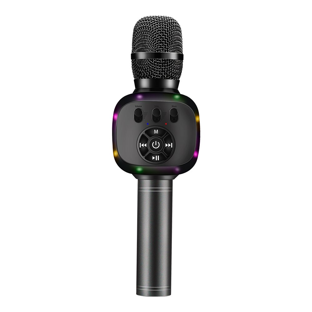 BONAOK Upgraded Wireless Bluetooth Karaoke Microphone with Dual Sing, LED Lights, Portable Handheld Mic Speaker Machine for iPhone/Android/All Smartphones, Outdoor, Birthday, Home, Party (Rose Gold) BKLE003AM