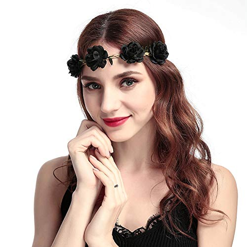 iNoDoZ Women's Boho Hair Accessories Floral Flower Festival Wedding Garland Hair Head Band Beach Party Black]()