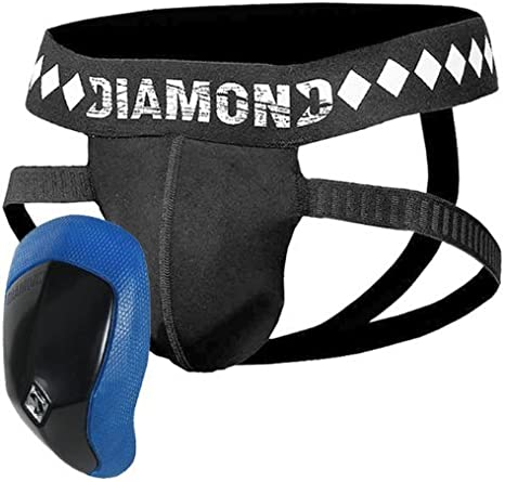 Diamond MMA Four-Strap Jock Strap Supporter with Built-in Athletic Cup Pocket for Sports
