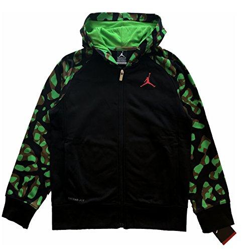 Jordan Nike Boys Youth Camo Full-Zip Hoodie Jacket Black/Green Size M (10-12)