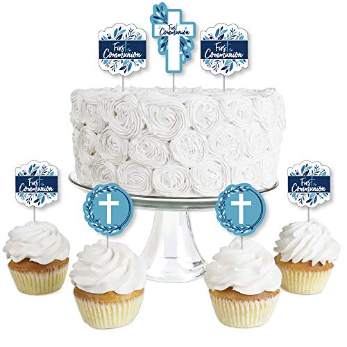 First Communion Blue Elegant Cross - Dessert Cupcake Toppers - Boy Religious Party Clear Treat Picks - Set of 24 ()