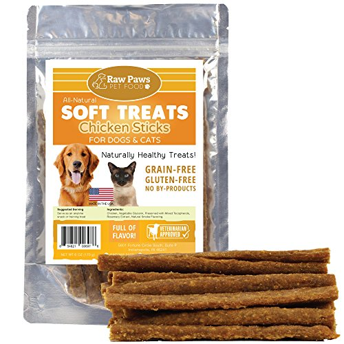 Chicken Treats Paws (Raw Paws Pet All-Natural Soft Chicken Dog Treats & Cat Treats, 6-ounce - Made in USA Only - Great for Training - Our Soft Treats for Dogs and perfect Treats for Small Dogs, Puppies and Training)