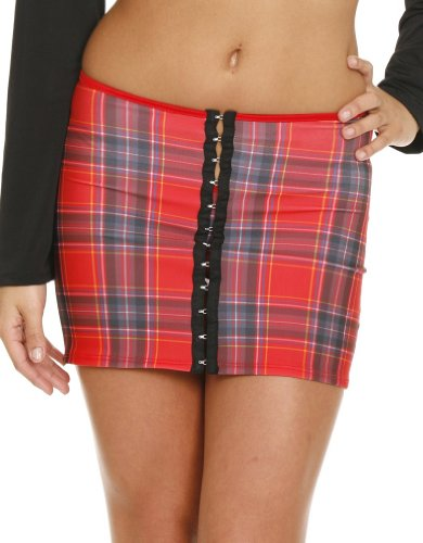 Plus size Hook Front Mini skirt Red plaid 11x