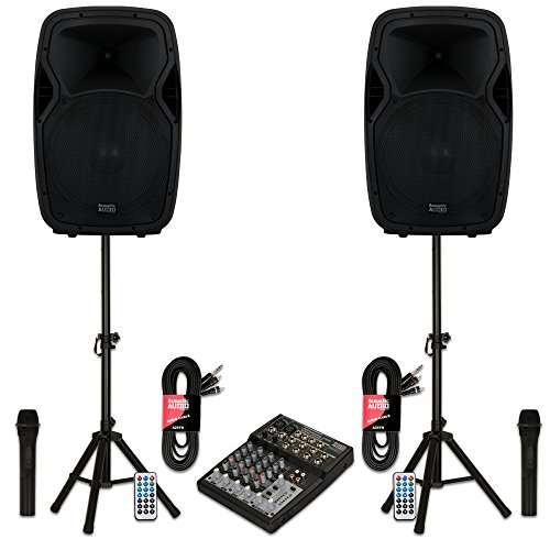 "Acoustic Audio AA15BS Powered 2000 Watts 15"" Bluetooth Speakers with Batteries Mixer Wireless Mics and Stands"