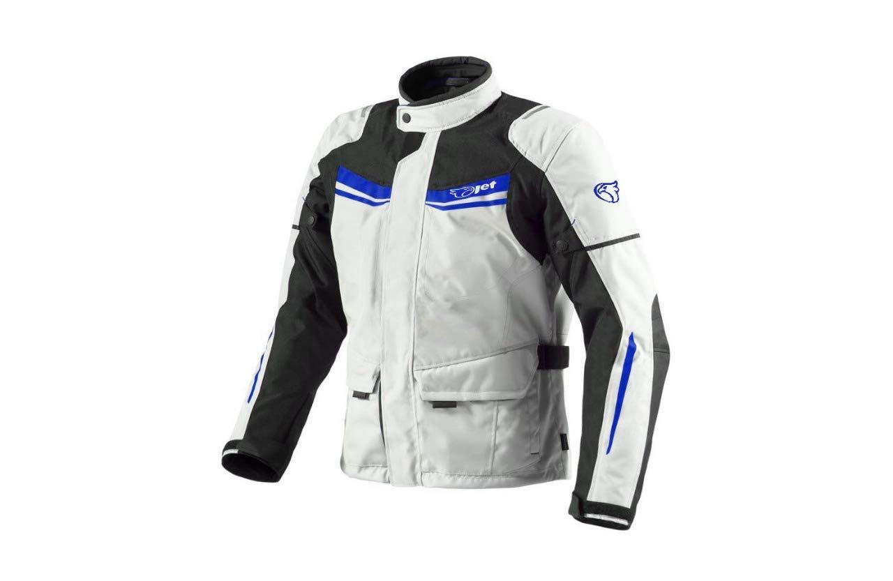 Jet Motorradjacke Herren Mit Protektoren Textil Wasserdicht Winddicht Aquatex , Wei/ß Rot EU 56-58 3XL