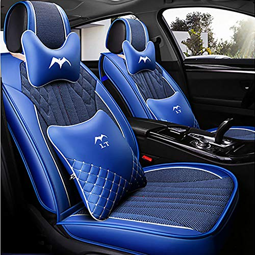 HXA Breathable Ice silk fabric Car Seat Cushions 5 Seats Full Set - Anti-Slip Suede Backing Universal Fit Covers Adjustable Bench for 95% Types of Cars,Blue: Amazon.co.uk: Kitchen & Home