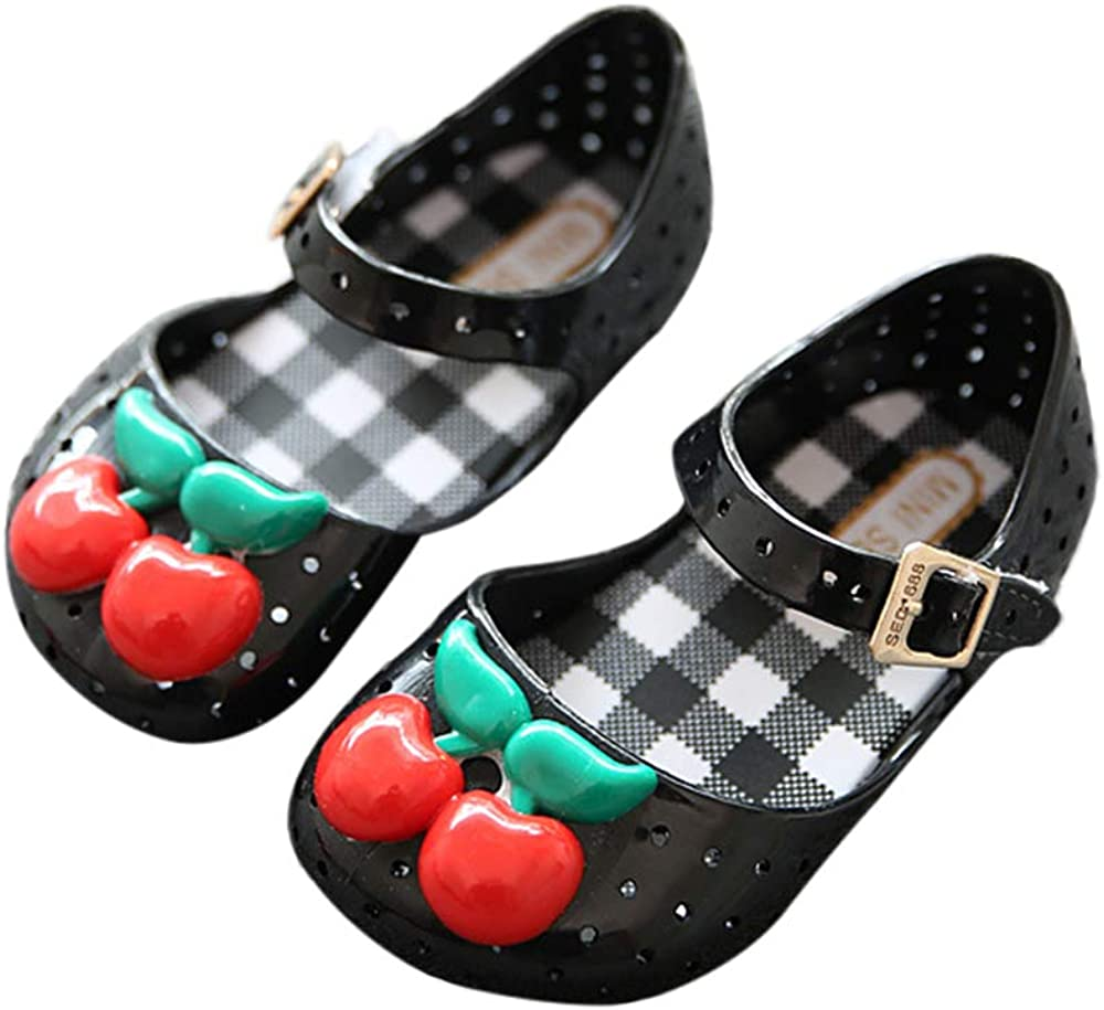 iFANS Girls Pineapple//Cherry Jelly Sandals Kids Mini Mary Jane Flats for Toddler