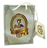 First Holy Communion Religious Gift Bag with Tissue Paper, Pack of 12, 4 x 5 Inch