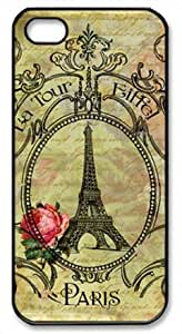 Vintage Retro Paris Eiffel Tower Theme Case for IPhone 4 4s PC Material Black
