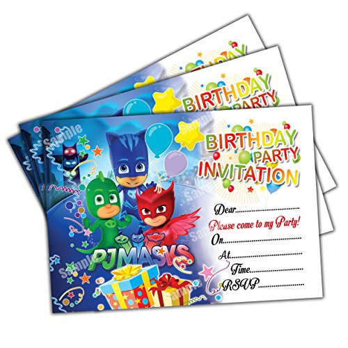 20 X Pj Masks Kids Birthday Party Invitations Invites Cards Quality Girls Boys