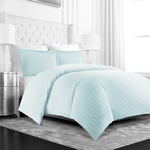 Beckham Hotel Collection Luxury Soft Brushed Microfiber Duvet Cover Set with Embossed Diamond Pattern - Full/Queen - Aqua - Hotel Collection Duvet Sets