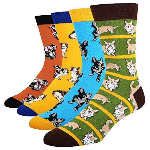 Cool Dog Stripe (Funny Dress Socks Animal Design Socks for Men Novelty Cool Office Socks Dog and Cat Crew Socks for Sports Party Gifts Box)