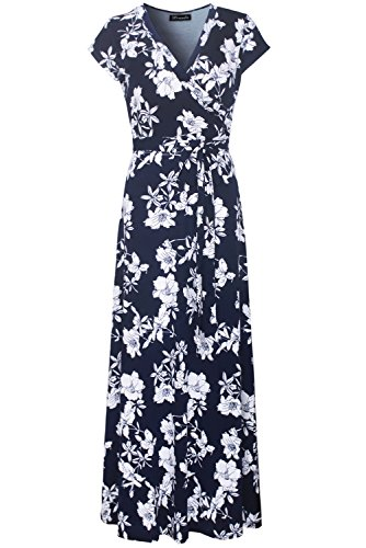 Kranda Womens Vintage Floral Print Short Sleeve Maxi Long Party Dress (X-Large, Navy) - Maxi Dresses For Women For Church