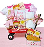 Little Cowgirl | Personalized Baby Girl Gift Basket in a Miniature Radio Flyer Wagon
