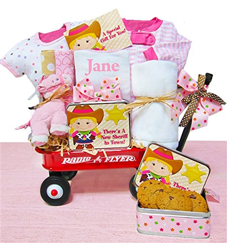 Personalized Welcome Wagon (Little Cowgirl | Personalized Baby Girl Gift Basket in a Miniature Radio Flyer Wagon)