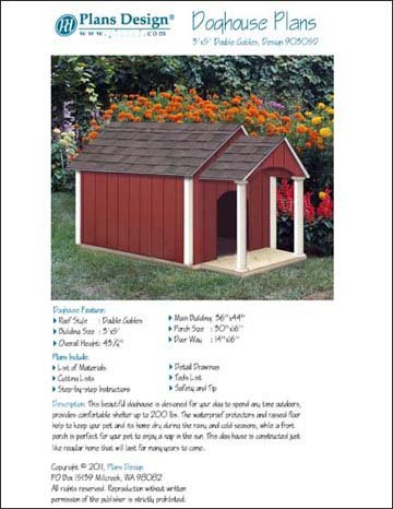 Dog House / Pet Kennel Project Plans, Gable Double Roof Styl