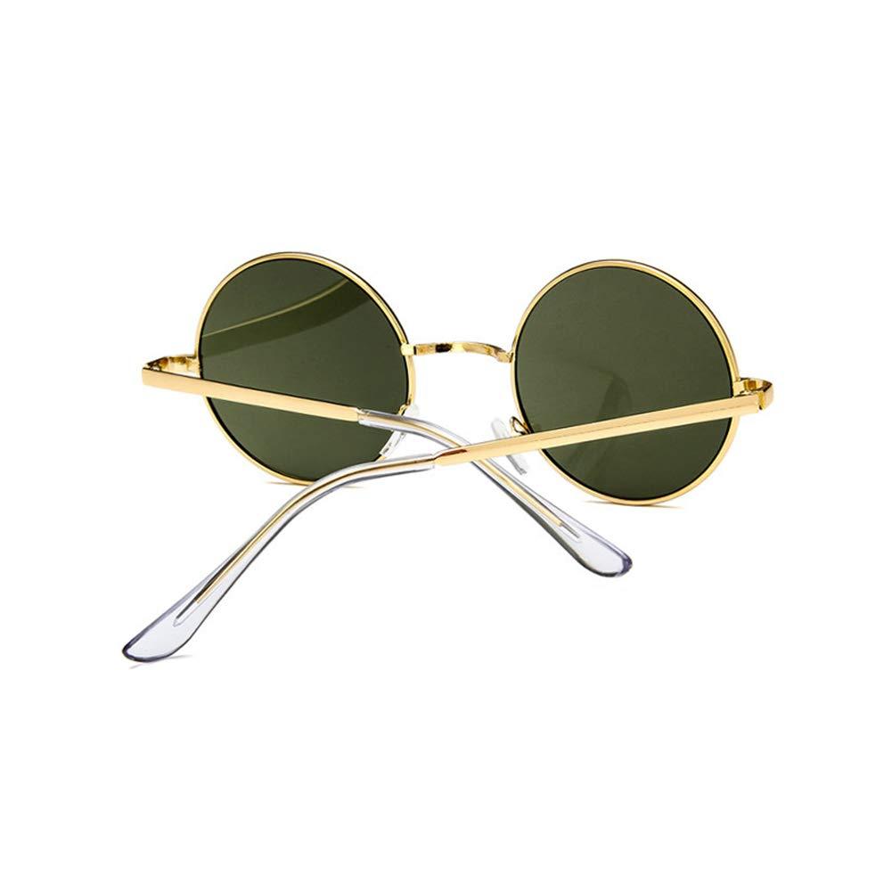 Topsair Retro Small Round Metal Frame Sunglasses Green Lens