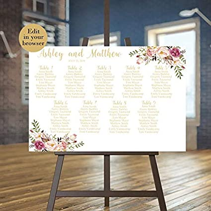 photo relating to Printable Seating Chart called : MaxwellYule Marriage ceremony Seating Chart Template
