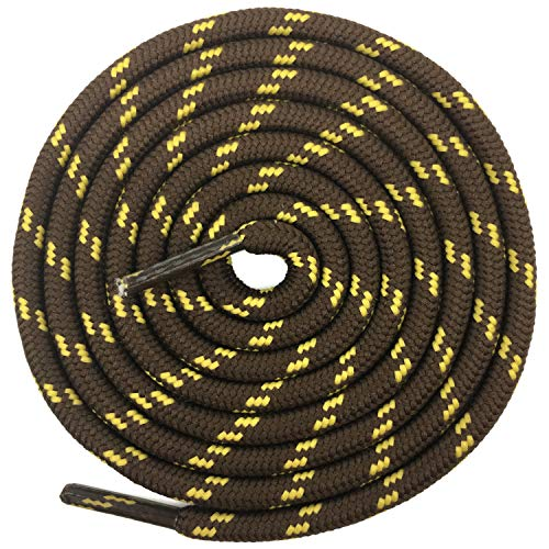 DELELE 2 Pair Non-slip Outdoor Mountaineering Hiking Walking Shoelaces Round Coffee Yellow String Rope Boot Laces Strong Durable Bootlaces-55.12