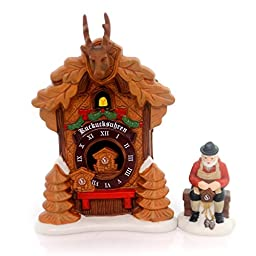 Department 56 by Enesco Alpine Village Christmas\' Market Black Forest Cuckoo Clock Shop 2 Piece Set