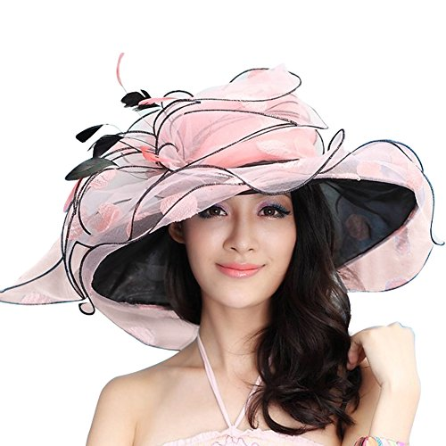 June's Young Women Sun Hat Wide Brim Fashion Derby Hat Polka Dot Peach