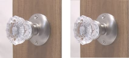 Top-of-the-Line Brushed Nickel & Fluted Crystal Glass  Privacy KNOB SET Doors Architectural & Garden