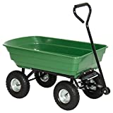 Garden Carrier Cart Dumper Wagon Wheel Barrow Dump 650lb Heavy Duty Capacity Tires Outdoor Lawn Yard