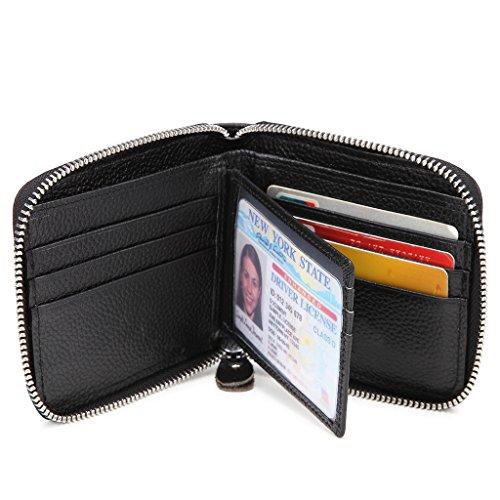 Veeskyee Zipper Wallet Men RFID Blocking Zip Around Wallet Genuine Leather Secure Credit Card Holder for Men